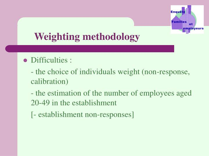 Weighting methodology