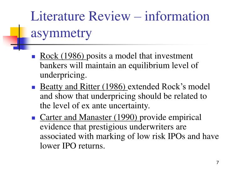 information asymmetry example Information asymmetry: adverse selection and moral hazard these examples illustrate the 2 types of risks that are present when there is information asymmetry.