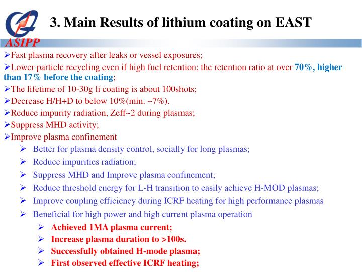 3. Main Results of lithium coating on EAST