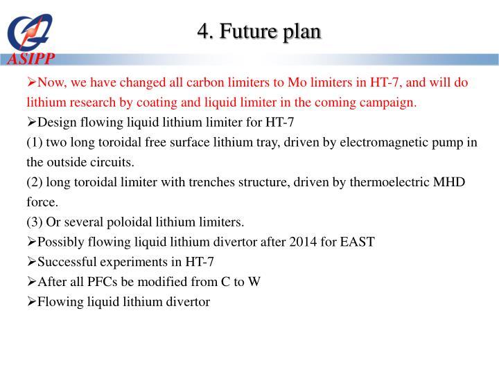 4. Future plan