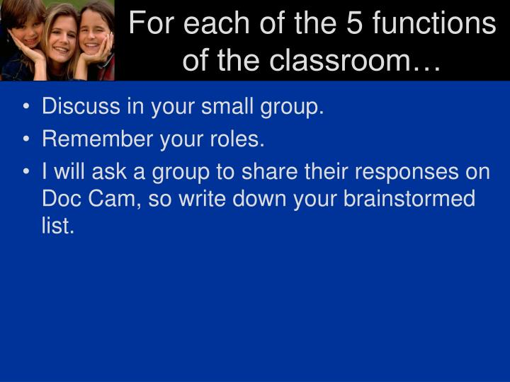For each of the 5 functions of the classroom…