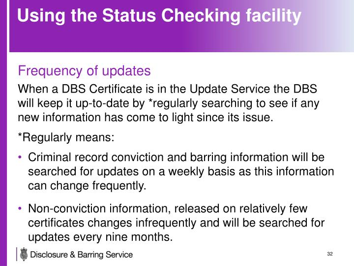 Using the Status Checking facility