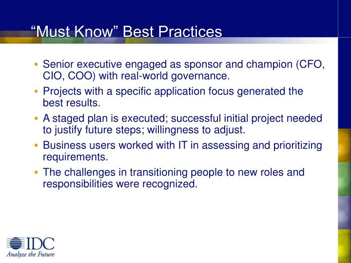 """Must Know"" Best Practices"