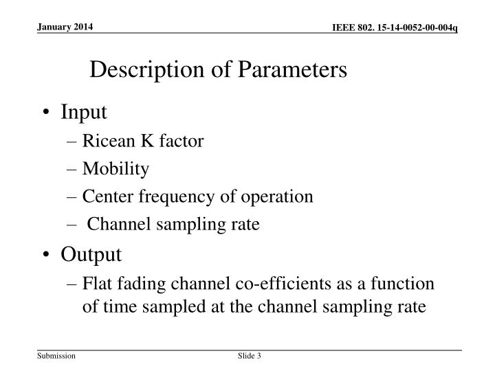 Description of parameters