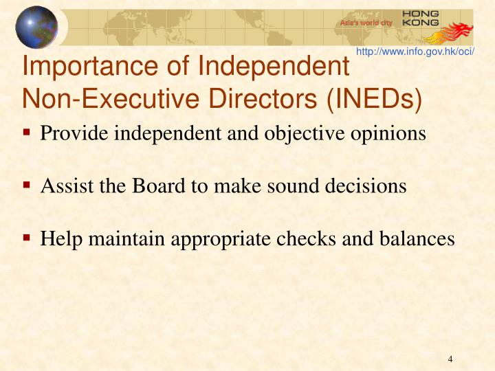 Importance of Independent