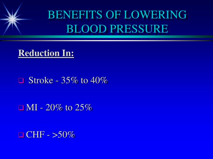 BENEFITS OF LOWERING BLOOD PRESSURE