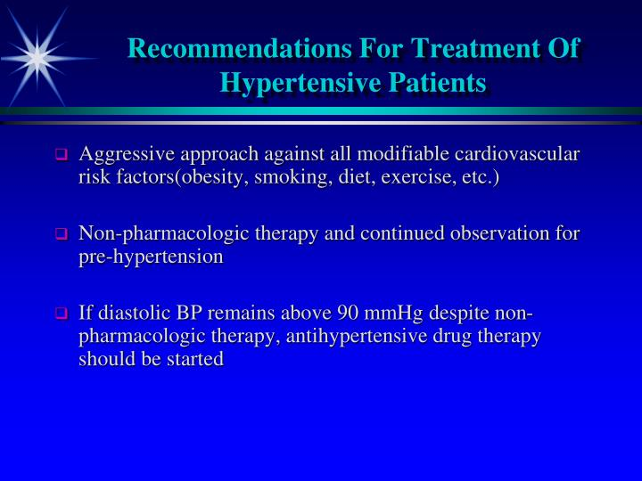 Recommendations For Treatment Of Hypertensive Patients