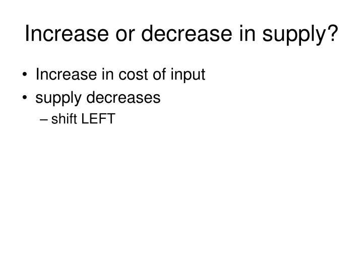 Increase or decrease in supply?