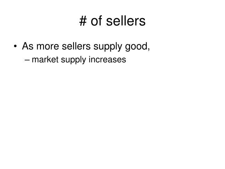 # of sellers