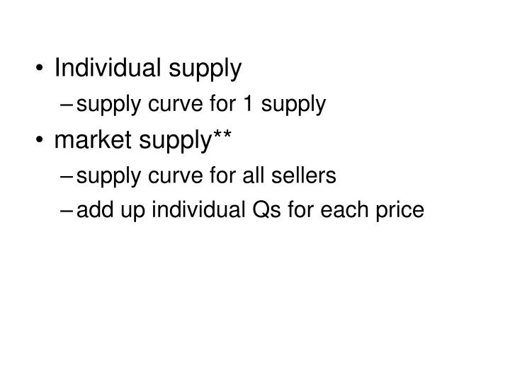 Individual supply