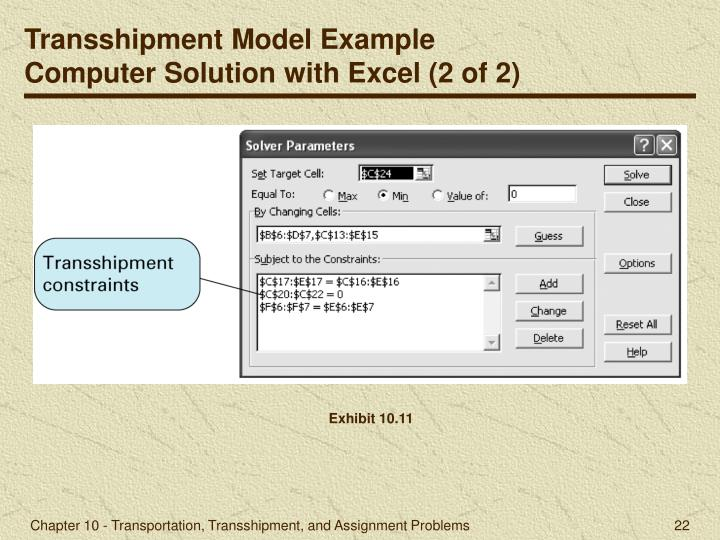 Transshipment Model Example