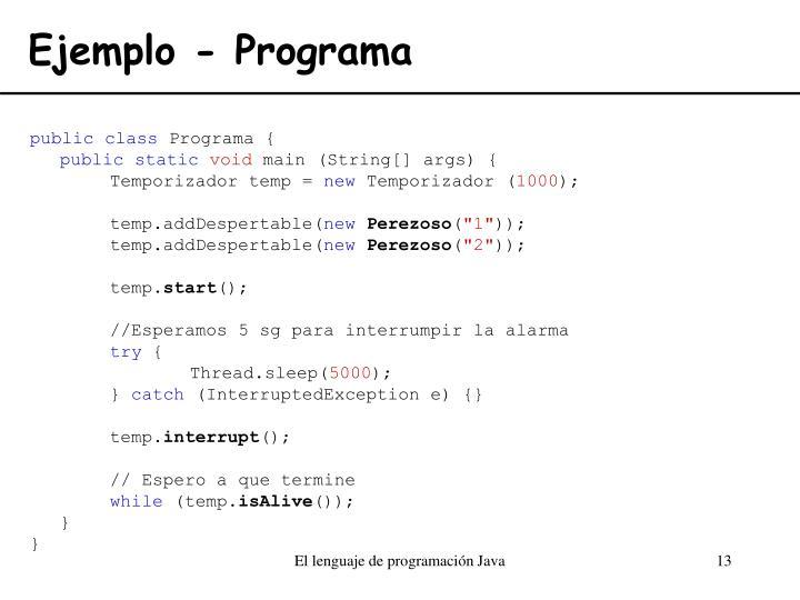 Ejemplo - Programa