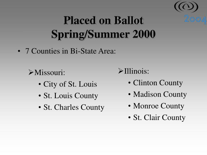7 Counties in Bi-State Area: