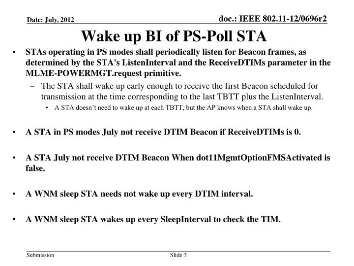 Wake up BI of PS-Poll STA