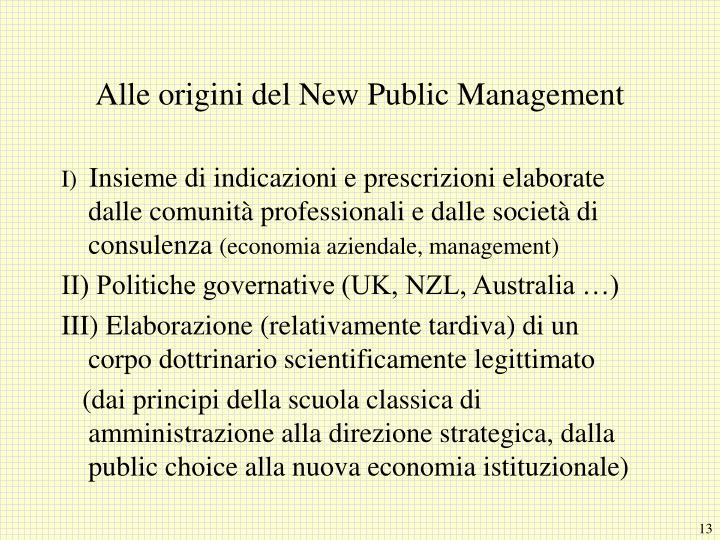 Alle origini del New Public Management