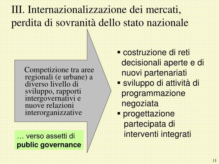 Competizione tra aree regionali (e urbane) a diverso livello di sviluppo, rapporti intergovernativi e nuove relazioni interorganizzative
