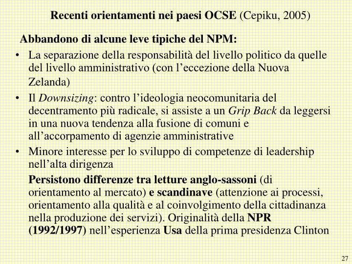 Recenti orientamenti nei paesi OCSE