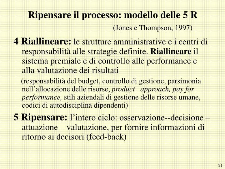 Ripensare il processo: modello delle 5 R