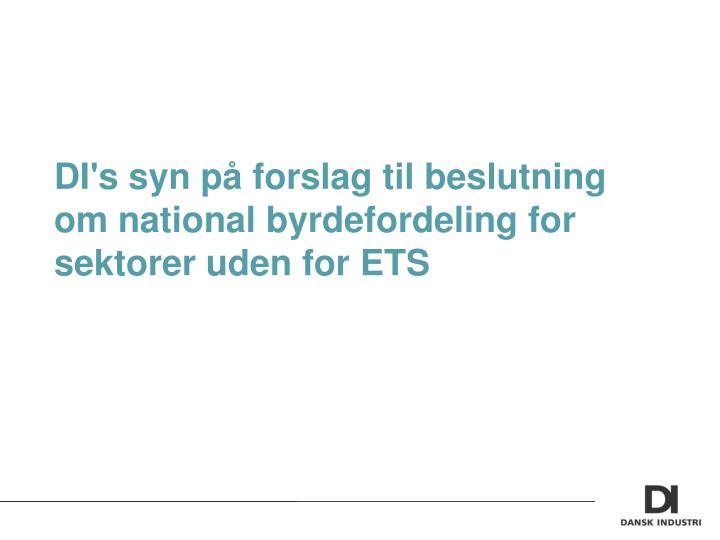 DI's syn på forslag til beslutning om national byrdefordeling for sektorer uden for ETS