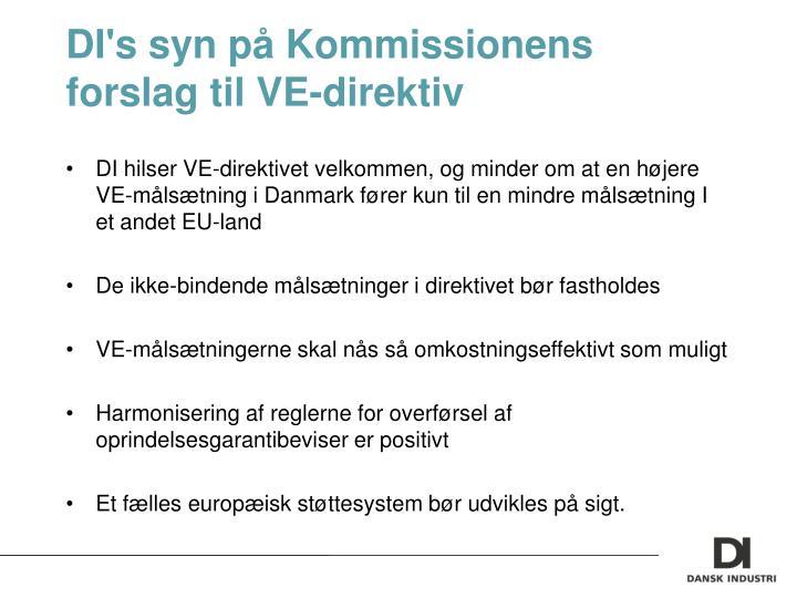 DI's syn på Kommissionens forslag til VE-direktiv