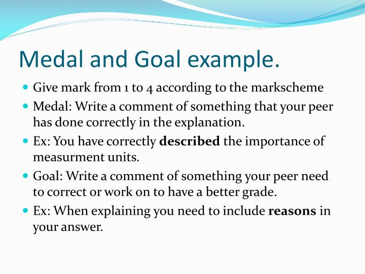 Medal and Goal example.