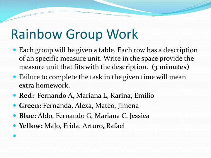 Rainbow Group Work