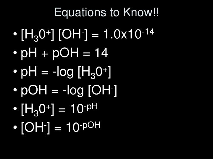 Equations to Know!!