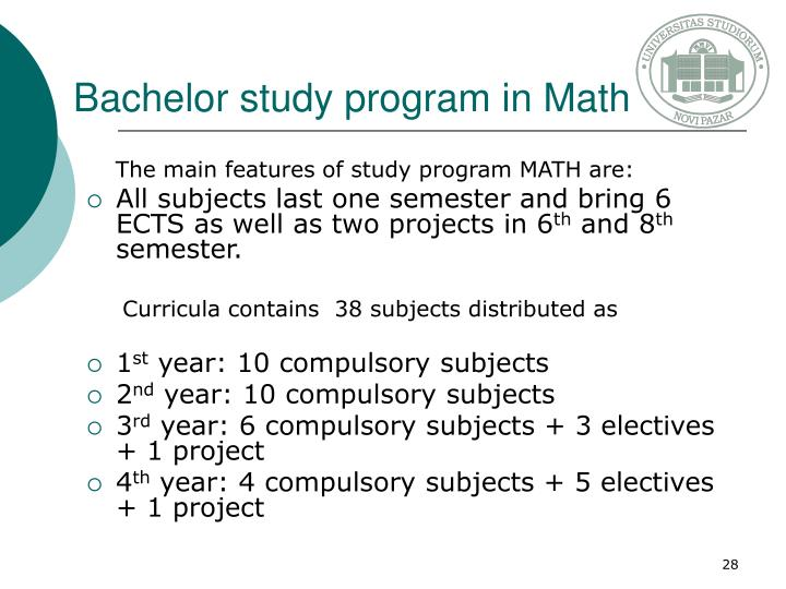 Bachelor study program in Math