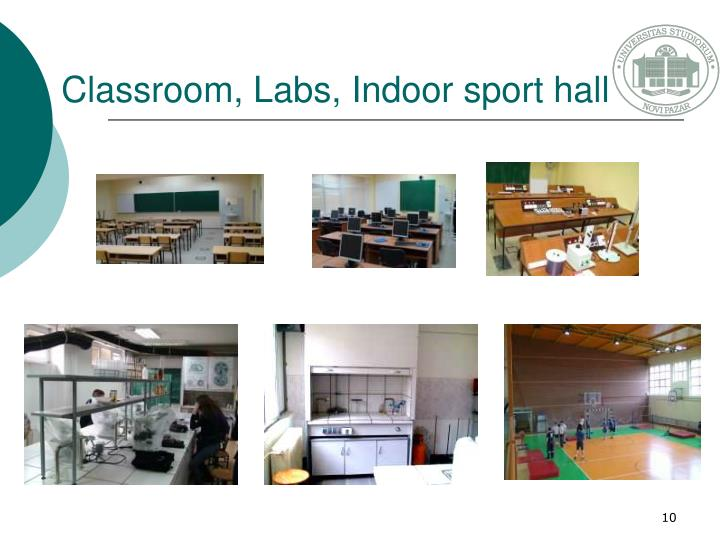 Classroom, Labs, Indoor sport hall