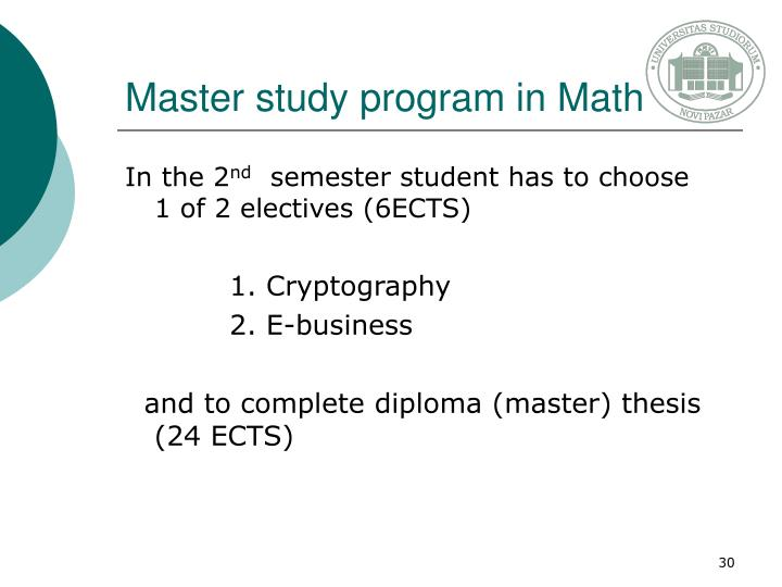 Master study program in Math