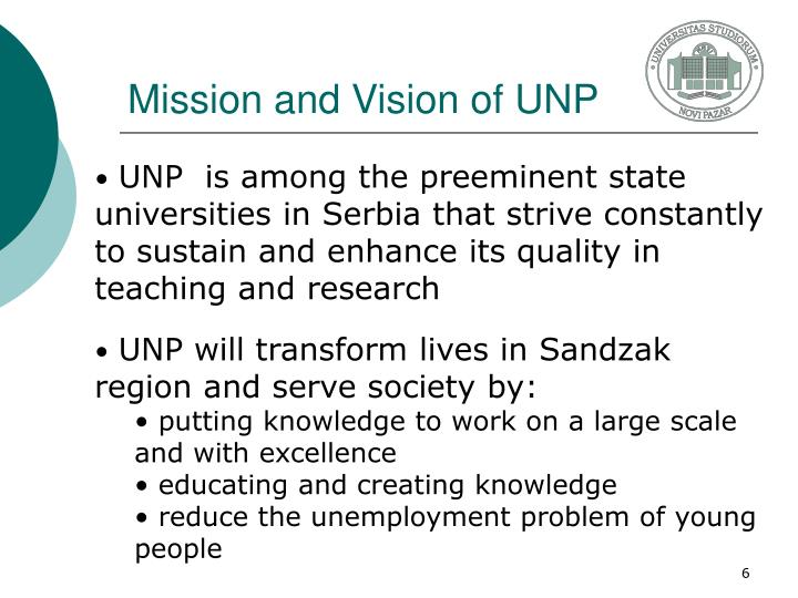 Mission and Vision of UNP