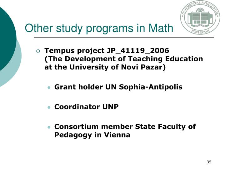 Other study programs in Math