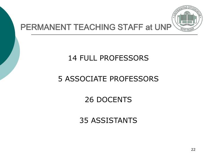PERMANENT TEACHING STAFF at UNP