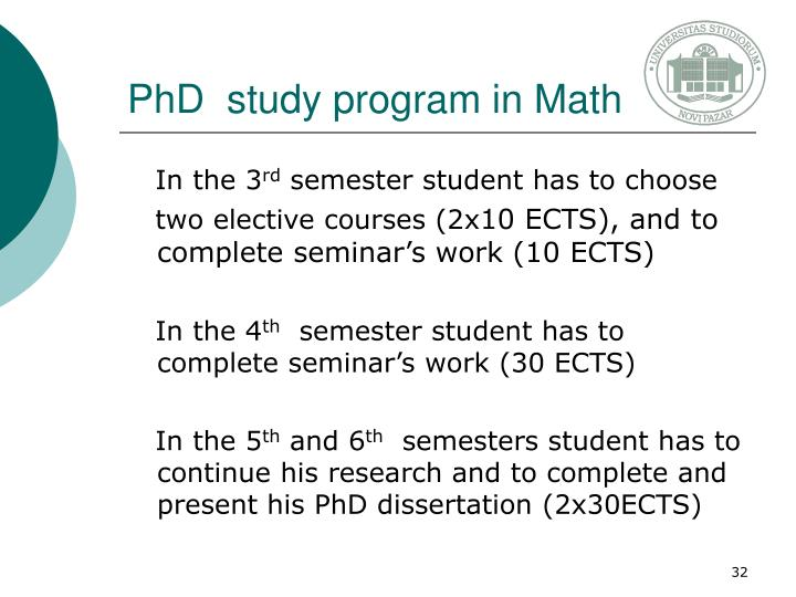 PhD  study program in Math