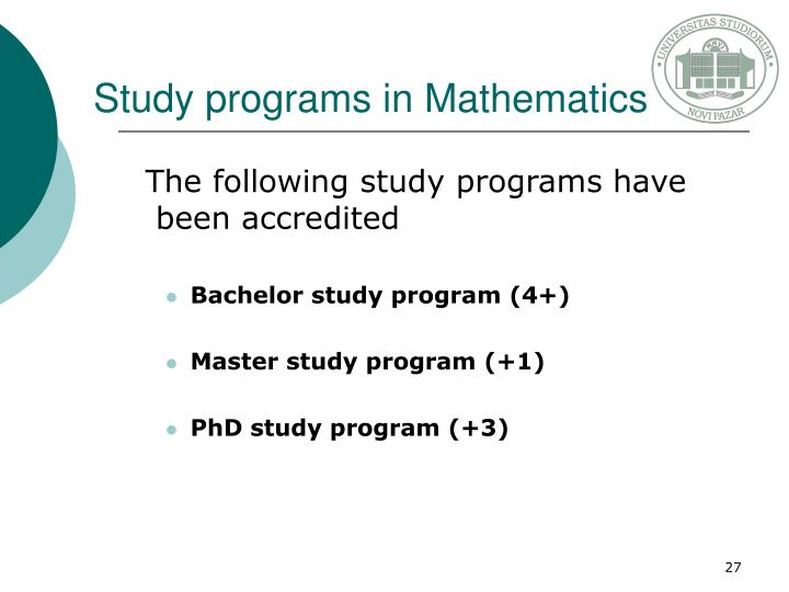 Study programs in Mathematics