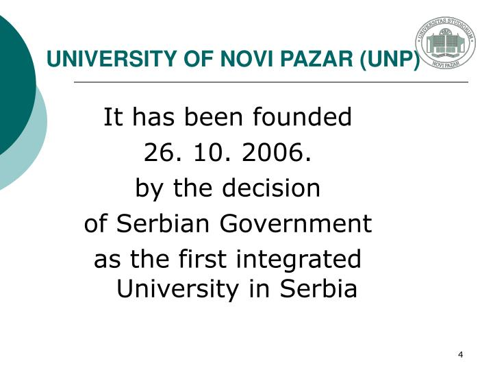 UNIVERSITY OF NOVI PAZAR (UNP)