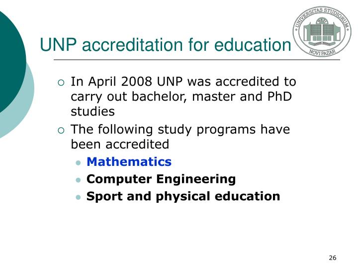 UNP accreditation for education