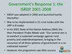 government s response 1 the isrdp 2001 2008