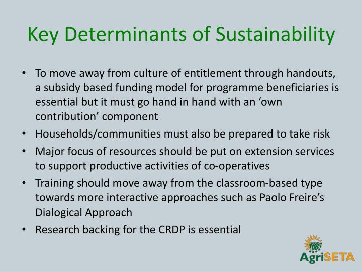 Key Determinants of Sustainability