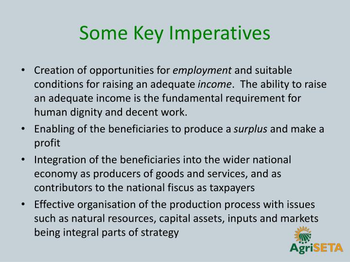 Some Key Imperatives