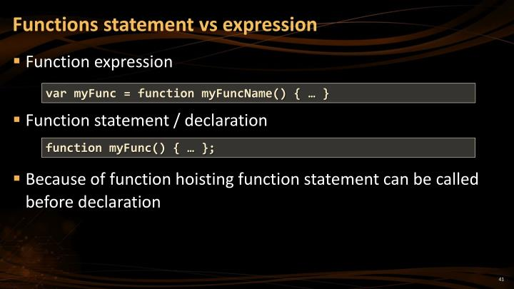 Functions statement