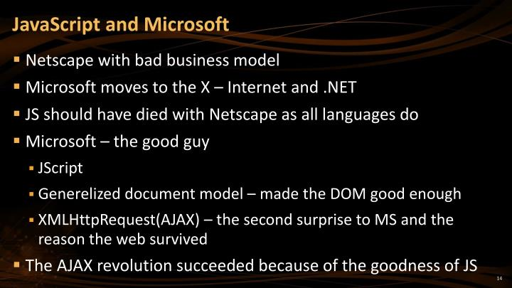 JavaScript and Microsoft