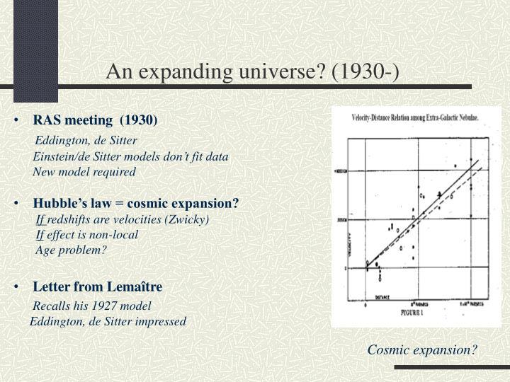 An expanding universe? (1930-)