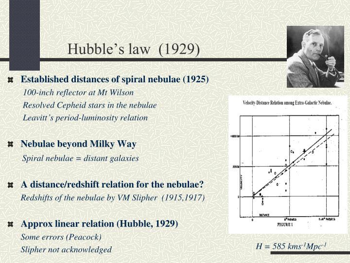 Hubble's law  (1929)
