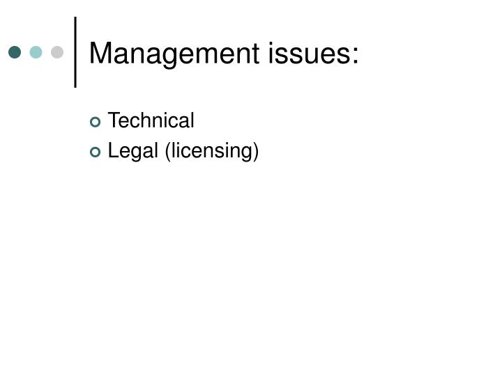 Management issues: