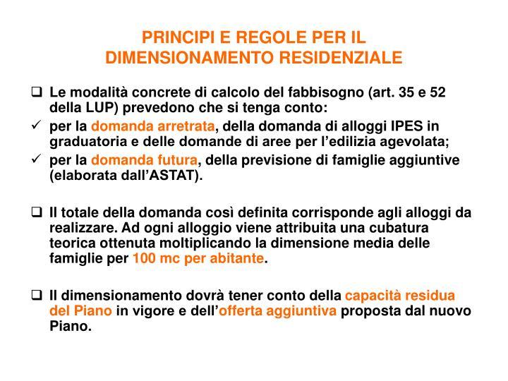 PRINCIPI E REGOLE PER IL