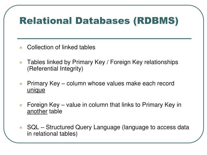 Relational Databases (RDBMS)