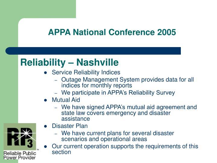 Reliability – Nashville