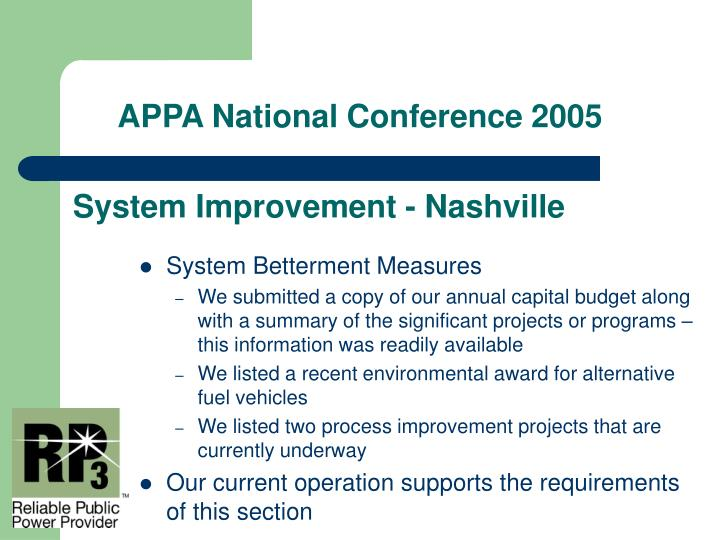 System Improvement - Nashville