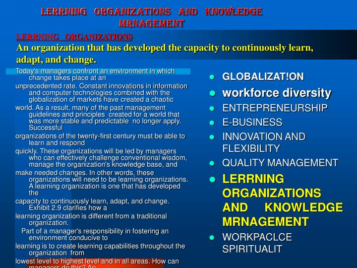 LERRNING   ORGANIZATIONS   AND   KNOWLEDGE